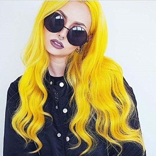 Grunge Lace - Newstyle Yellow 24 inch Synthetic Wave Hair Lace Frontal Wigs For Women With 150% Density Natural Hairline