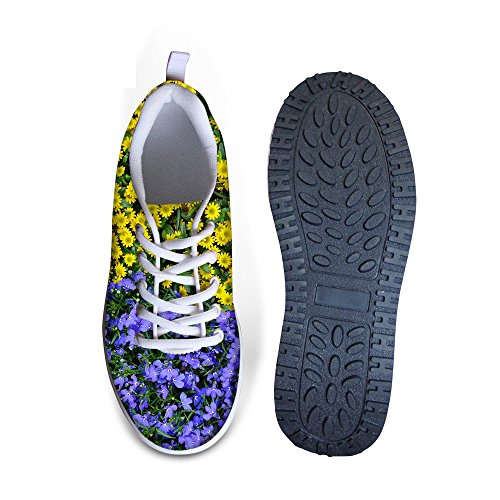 FOR Walking Platform U Fitness DESIGNS Ups Sneaker Casual A Shape Purple Women's Rose Print Wedges Floral Shoes Vintage 4FAxSwq4