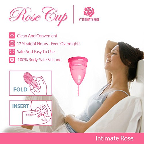 Intimate Rose Menstrual Cup Is Perfect For Beginners - 12 Hour Period Protection With FDA Approved Silicone - More Comfortable Option - Eco-Friendly Alternative to Tampons & Pads by Intimate Rose (Image #2)