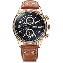 Time100 Men Multifunction Sports Casual Alloy Plating Case Leather Band Luminous Quartz Watches for Mens Coffee