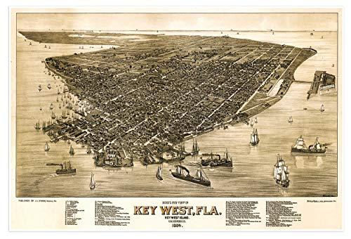 Antiguos Maps Bird's Eye View Map of Key West Florida Monroe County Circa 1884-24