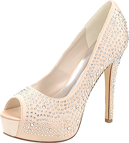 Toe Satin Comfort Ladies 3128 Prom Bride Rhinestone On Champagne 14 Wedding Party Pumps Peep Platform Salabobo Work Bridesmaid Dress Slip w6FBOxx