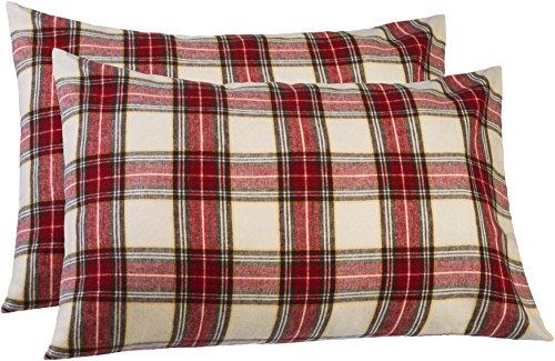 Pinzon 160 Gram Plaid Flannel Pillowcases – Standard, Crea