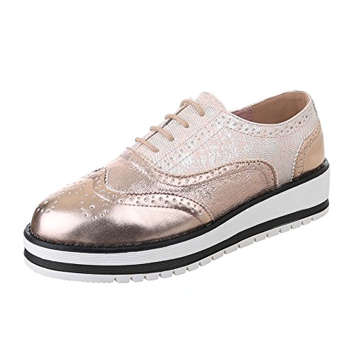 Ital-Design - Zapatos Planos con Cordones Mujer dorado