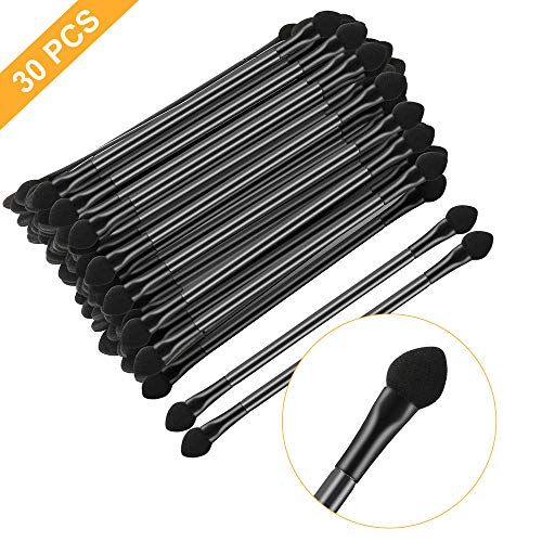 KEJIA 30 PCS Professional Double-End Eyeshadow Brushes Cosmetic Tool with 12 cm Long Handle, Disposable Dual Sides Eyeshadow Sponge Brushes Makeup Applicator, Black