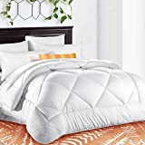 California King Bed Compared to King Queen Comforter Soft Quilted ♥ Down Alternative Duvet Insert with Corner Tabs Summer Cooling 2100 Series, Fluffy Reversible Hotel Collection, Hypoallergenic for All Season, Snow White, 88 x 88 inches