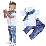 Baby Boys T-Shirt Tops+Scarf+Trousers, Short Sleeve Clothes Outfits Set (White, 7T)