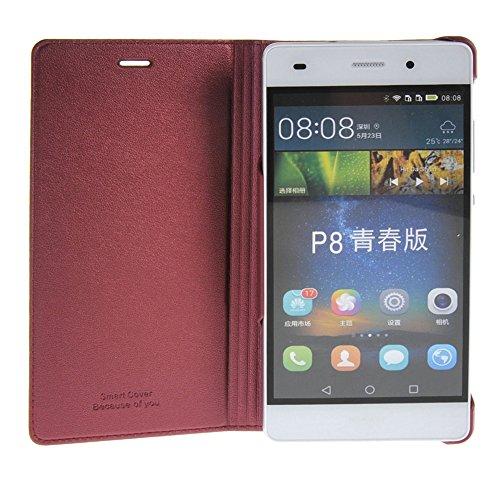 Huawei P8 lite Funda,COOLKE Ultra Delgado Diseño de ventana Flip Funda Con Soporte Plegable Carcasa Funda Tapa Case Cover para Huawei P8 lite - Negro Rojo