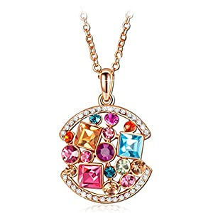 Women's Rose Gold Plated Pendant Multicolored Austrian Crystals Necklace