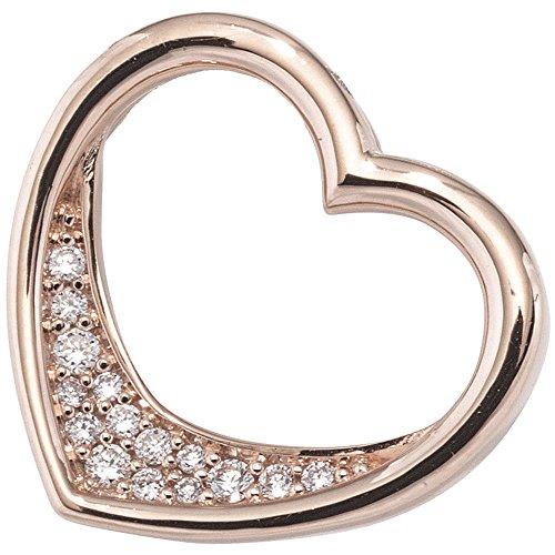 Jobo Pendentif Cœur en Or 585or rouge 15diamants 0.08ct vives. Pendentif en forme de cœur