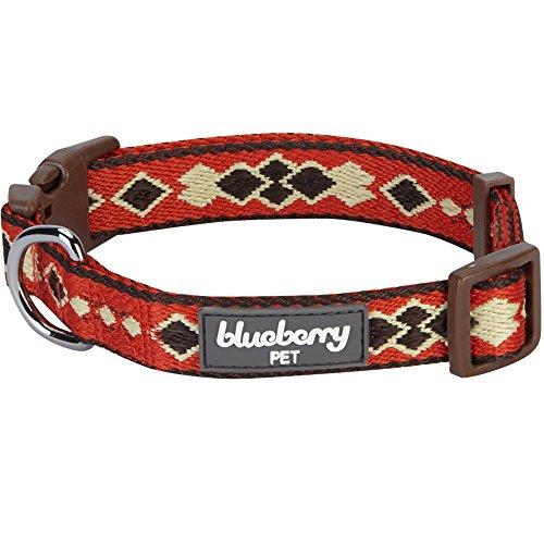 Blueberry Pet 8 Patterns Tribal Print Splendid Burnt Orange Braided Dog Collar, Small, Neck 12-16, Adjustable Collars for Dogs