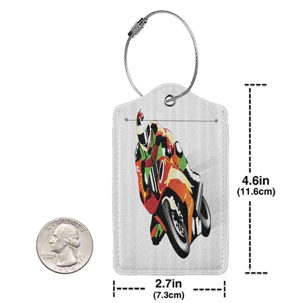 Waterproof luggage tag Motorcycle Retro Art Motorcycle Racer with Headgear Championship Dangerous Extreme Sports Soft to the touch Orange Green W2.7 x L4.6