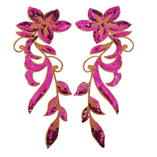 Ximkee 1 Pair Dancing Flower Sequin Sew Iron on Applique Embroidered Patches-Rose (Sequin One)