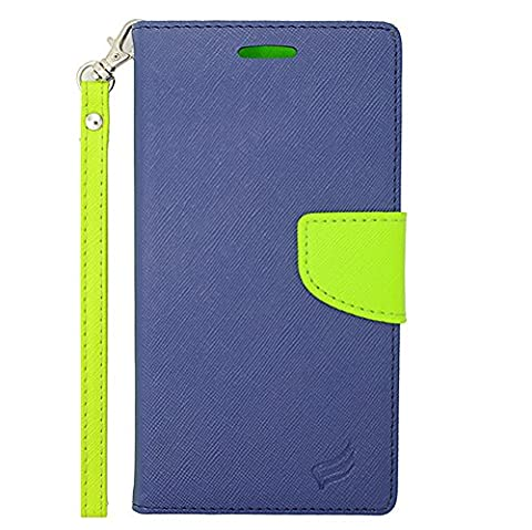 ZTE Quartz Z797C (Straight Talk, Net 10, Tracfone) - Navy Blue and Neon Green PU Leather Wallet Pouch Magnetic Flip Cover Case + Atom (Zte Quartz Case Green)