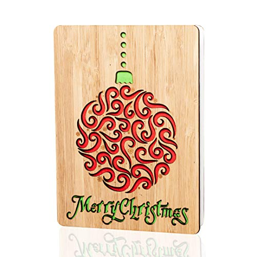 (Merry Christmas Cards/Gifts : Handmade real bamboo happy holidays card. Vibrant festive design. Perfect for sending Xmas or season`s greetings to husband, wife, parents, her, him, friends and)
