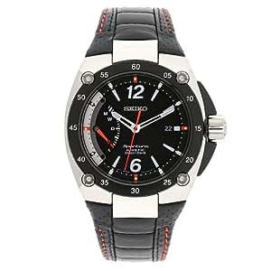 Seiko SRG005P2 - Reloj con correa de cuero para hombre, color negro / gris