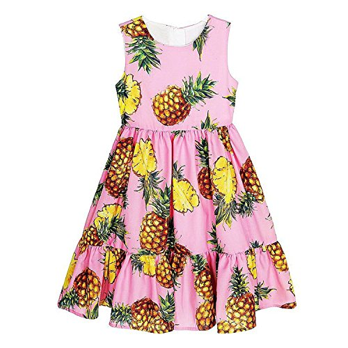 Halloween Sims Costume (Haiyitian Monsoon girl's summer dress NEW brand children's party dresses printing pineapple robe princess layered dress children's costumes)