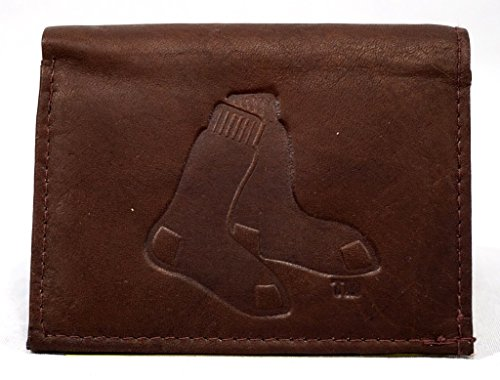 Boston Red Sox Credit Card (MLB Boston Red Sox Tri-Fold Leather Wallet, Brown)