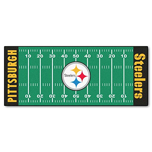 Field Pittsburgh Steelers Football Rug - 30x72 NFL Steelers Rug Football Field Runner xl Long Yoga Mat Sports Area Rug For Boys Bedroom Living Room Bathroom Rugs Runner Floor Carpet Athletic Game Fans Gift Nonslip Backing, Durable Soft Nylon