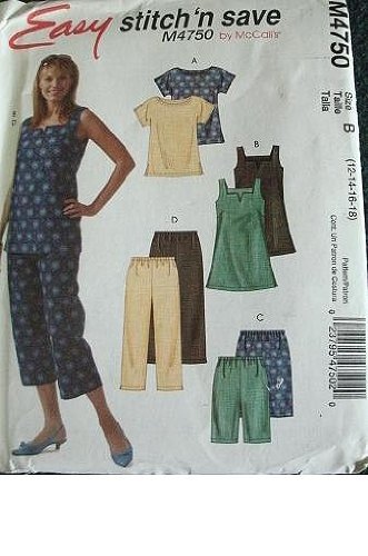 McCalls Stitch 'N Save Pattern M4750 Misses Top, Tunic, Shorts and Capri Pants Size 12-18 Easy to Sew