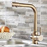 Lovedima Stev Antique Brass Single Handle Kitchen Sink Faucet Mixer Tap with Water Filtering