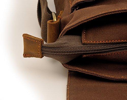 zatous Vintage Lienzo Bolsa de hombro Militar Messenger Bag Bolso de piel verde