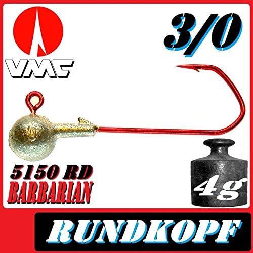 VMC Jigkopfhaken Jigkopf Rund 3//0 4g Jighaken 25 St/ück im Set mit VMC Barbarian 5150 RD Haken