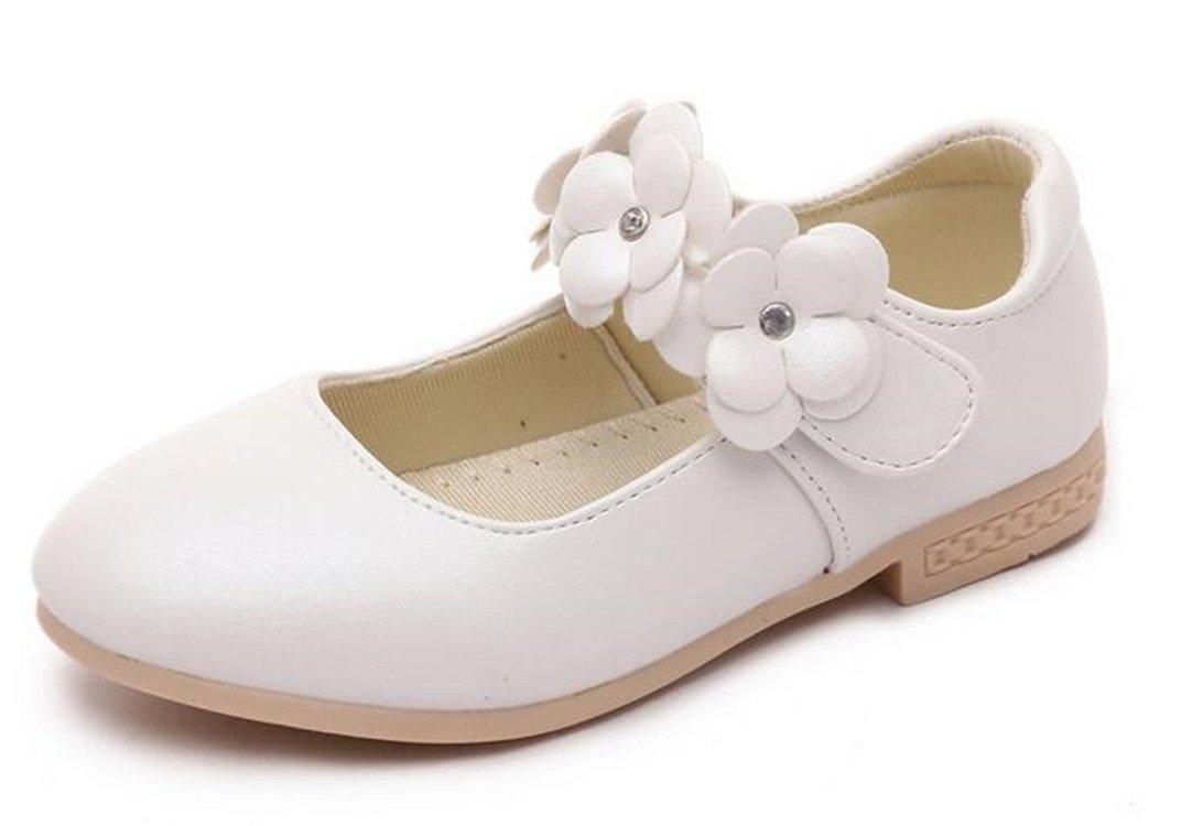 Bumud Girl's Mary Jane Flowers Casual Slip On Ballerina Flat Shoe(Toddler/ Little Girl) (12 M US Little Kid, White)