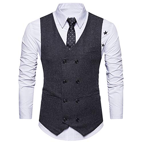 Tweed Gilet Noir Manche Double Suit Vest breasted Ycueust Sans Homme Mariage Parti aqxwF5p4A
