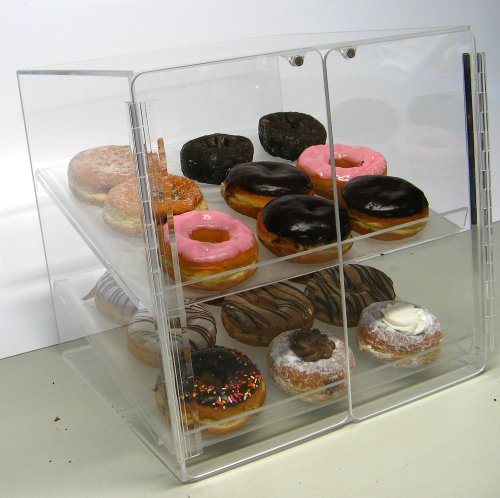 Self Serve Pastry or Donut Display Case 2 Trays for Deli Bakery Convenience Stores Display Bagel cakes and Keeps Fresh (Pie Display Case)