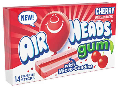 Chewing Candy (Airheads Candy Sugar-Free Chewing Gum with Xylitol, Cherry, Valentines Candy, 14 Stick Pack (Bulk Pack of 12))