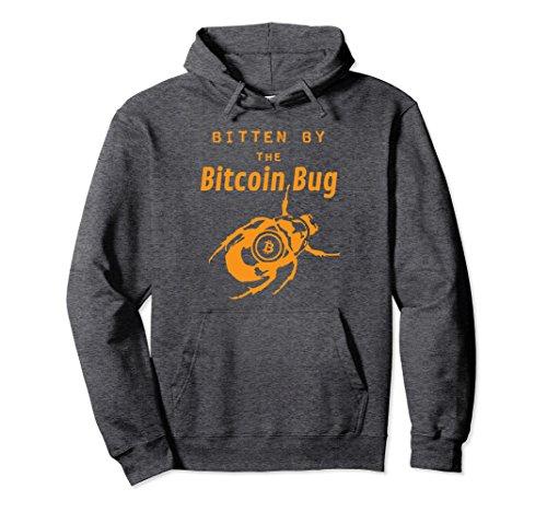 Unisex Bitten By the Bitcoin Bug | Funny Crypto Lover Hoodie Large Dark Heather Bug Hooded Sweatshirt