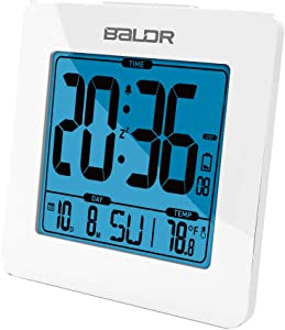 BALDR Digital Alarm Clock - Easy to Read, Simple to Set Up - Battery Operated and Cordless - Not Just for Bedrooms - These Digital Clocks are Ideal for The Bathroom, Kitchen, Office and Travel -White