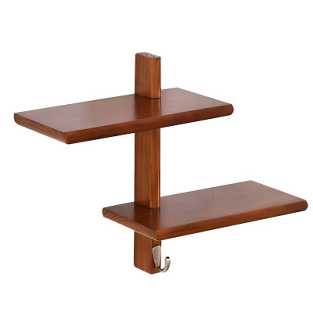 jinxin Solid wood rack wall living room shelf decorative frame word partition bedroom simple wooden wall wall shelf (Color : Brass, Size : M)