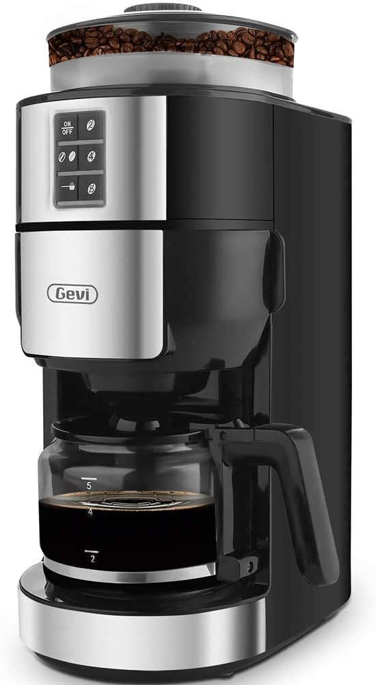 10-Cup Coffee Maker with Warming plate and Auto-off function, Drip Coffee Machine with 1.25L/42oz Clear Water Reservoir, Removable Filter, Anti-Dry Burning Function, Silver, 1450W