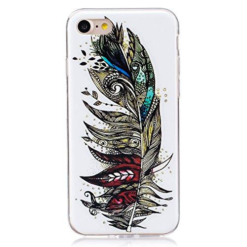 Voguecase® für Apple iPhone 7 4.7 hülle, Schutzhülle / Case / Cover / Hülle / TPU Gel Skin mit Nachtleuchtende Funktion (Bunte Feder 10) + Gratis Universal Eingabestift
