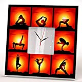 Yoga Positions and Poses Silhouette Wall Clock Framed Mirror Printed Design Fan Art Home Decor Gift