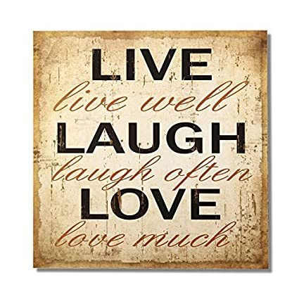 Adeco Decorative Wood Wall Hanging Sign Plaque Live Laugh Love Beige Brown Home Decor