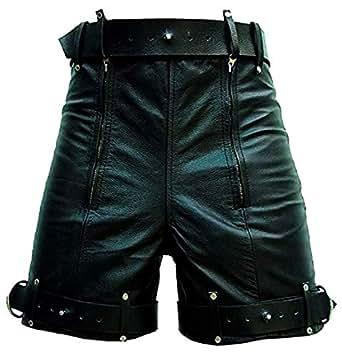 Mens leather locking bondage shorts