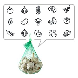 Glotoch Green Mesh Storage Bags 15 inch Reusable Produce Bags Comes with Loop-Style Closures MeshNylonNettingforVegetables,Fruits,Seafood Pack of 50