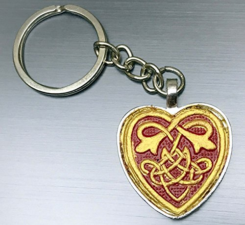 Gold and Red Hand-Painted Tooled Veg Tanned Leather Celtic Heart Keychain