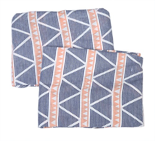 Bacati Aztec/Tribal Crib/Toddler Bed Fitted Sheets Cotton Muslin 2 Piece, Coral/Navy