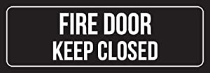 iCandy Combat Black Background with White Font Fire Door Keep Closed Outdoor & Indoor Office Plastic Wall Sign - 6 Pack, 3x9 Inch