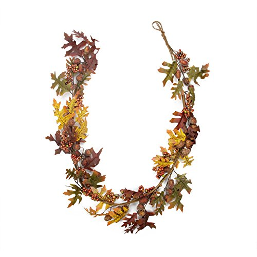 Acorn Garland (Gerson 5' Glittered Acorn and Hawthorne Leaf Artificial Thanksgiving Garland - Unlit)