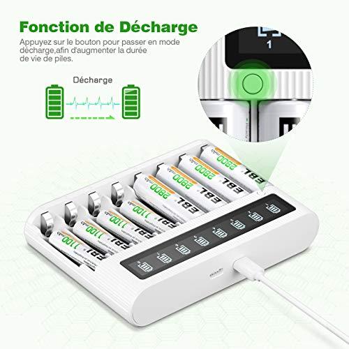 EBL LCD Chargeur de Piles- Chargeur de Piles 8 Slots Ultra Rapide 5V/2A pour AA AAA Piles Rechargeables Ni-MH Ni-CD, avec Fonction Décharge et Écran LCD