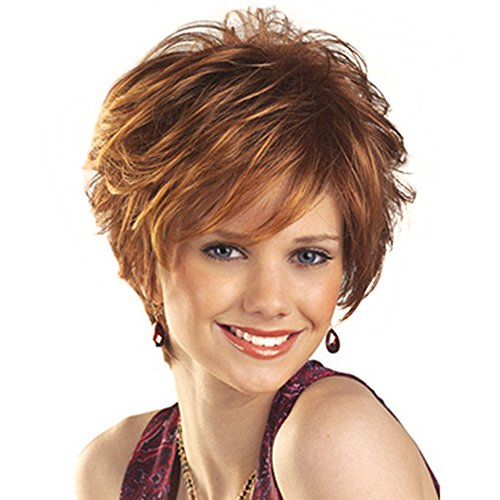 (HAIRCUBE Natural Short Fluffy with Bangs Synthetic Wigs for Women(Color 30) )