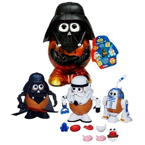 Hasbro Playskool Year 2013 Mr. Potato Head Star Wars Series Set - DARTH TATER 3-CHARACTER SET with Darth Tater, Spud Trooper, Artoo-Potatoo Set Plus Potato Container with Helmet and Faceplate (Total Pieces: 30+)