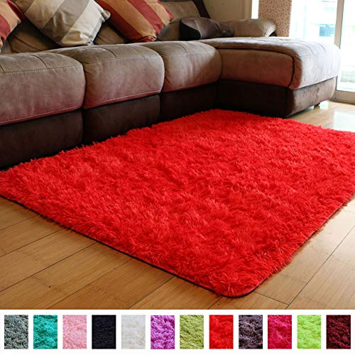 PAGISOFE Soft Girls Boys Room Rug Bedroom Nursery Decorative Carpet 4' x 5.3',Red - Carpet Red Shag