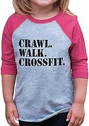 7 ate 9 Apparel Kids Crawl Walk Crossfit Pink Baseball Tee