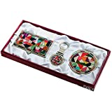Nacre Mother of Pearl Business Card Holder Compact Mirror Keychain Gift Sets, Business Card Credit Id Card Case Makeup Cosmatic Mirror Key Holder Set Quilt Design